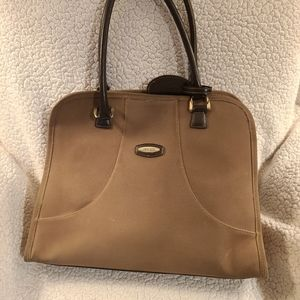 Pierre Cardin suede taupe laptop tote bag